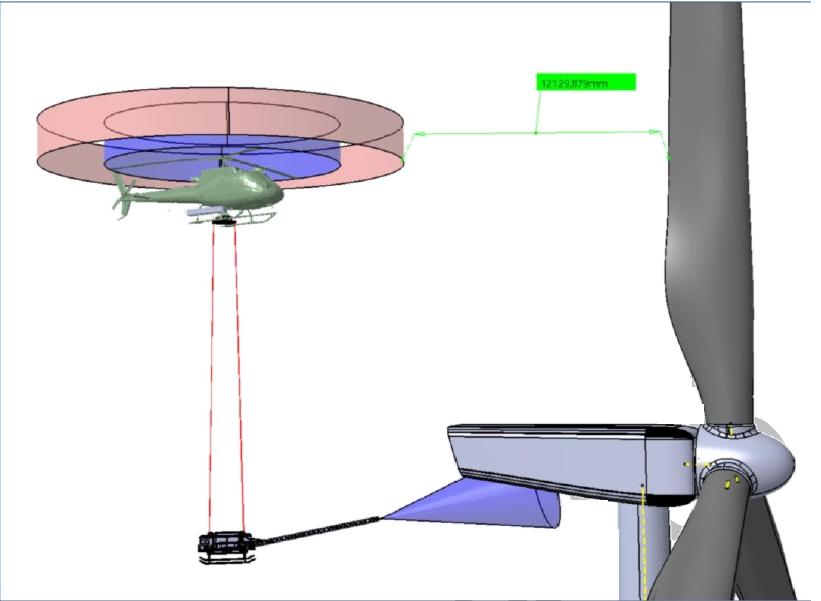 proceso limpieza de aerogeneradores con helicoptero